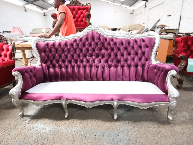 French Deep Button Back 3-Seater Sofa - Kings & Queens Antiques ...