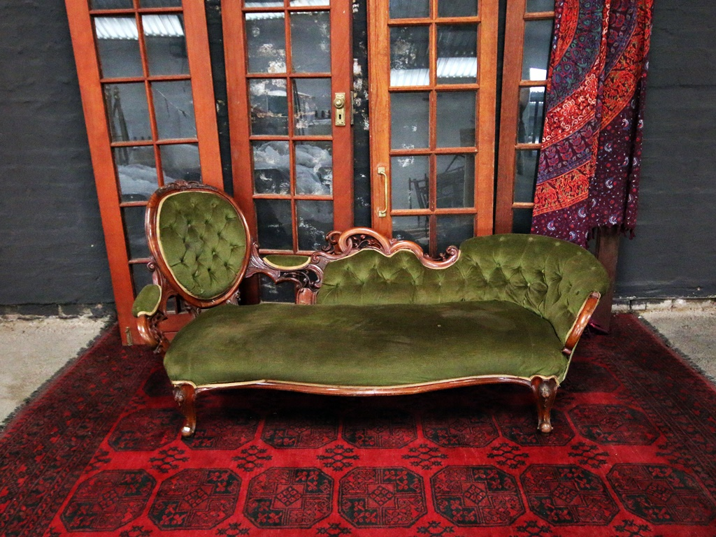 Antique victorian chaise loveseat kings queens for Antique victorian chaise