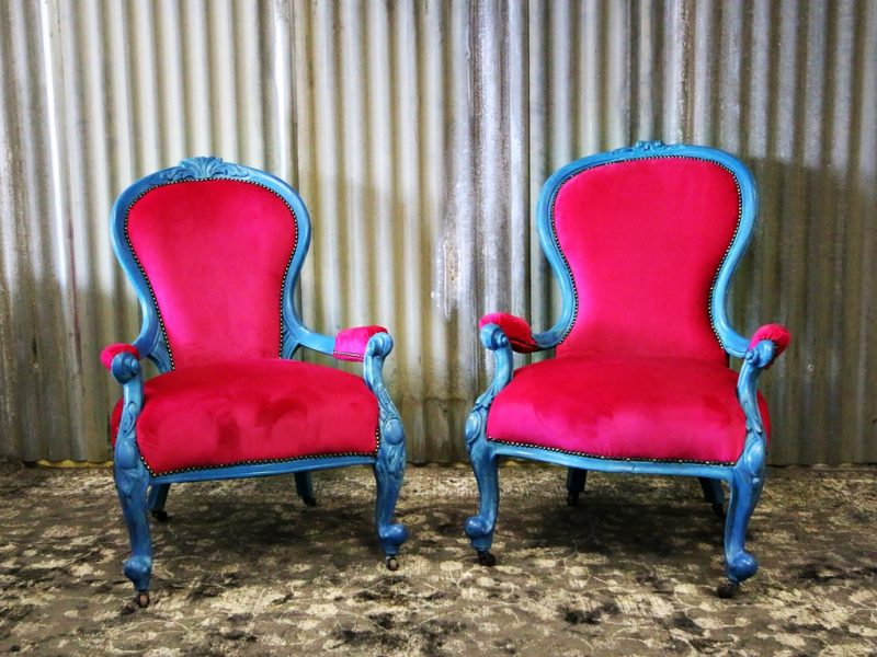 Painted Victrorian Chairs on Casters