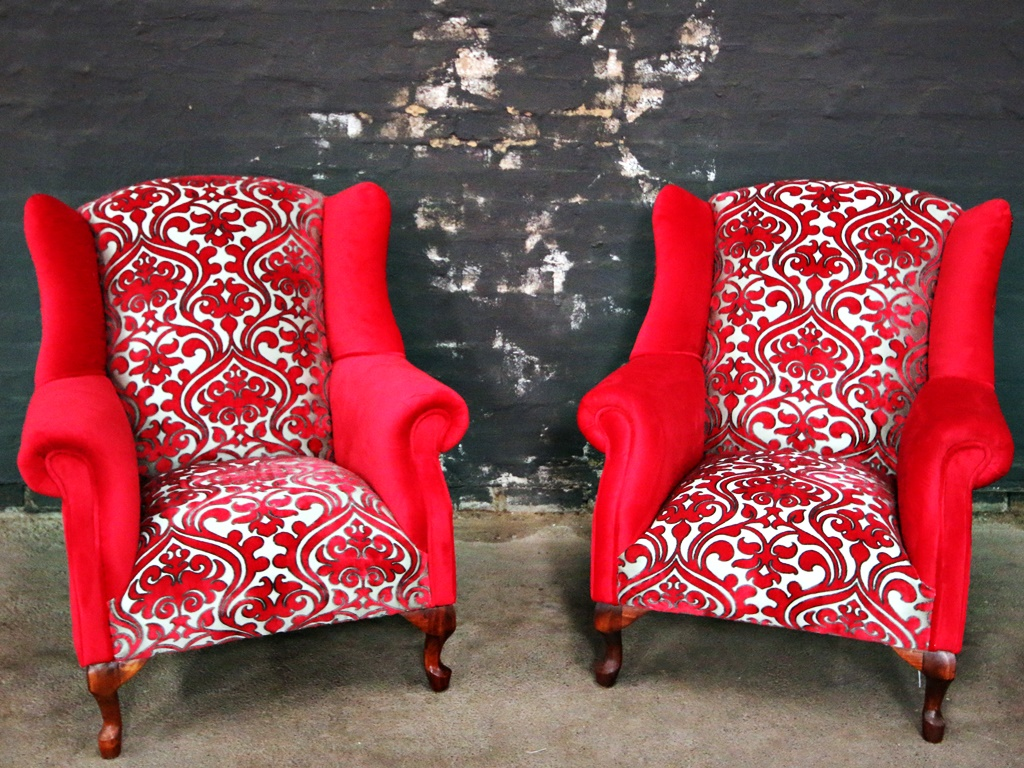 Red Velvet Wingback Chairs Kings Amp Queens Antiques Buy